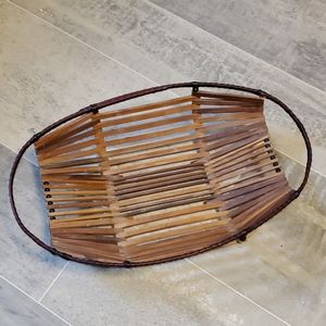 Vintage Wooden Slat Oval Basket